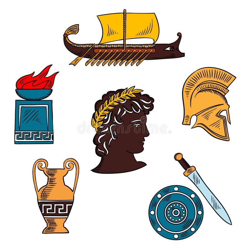 Arte e historia del bosquejo colorido antiguo de Grecia ilustración del vector