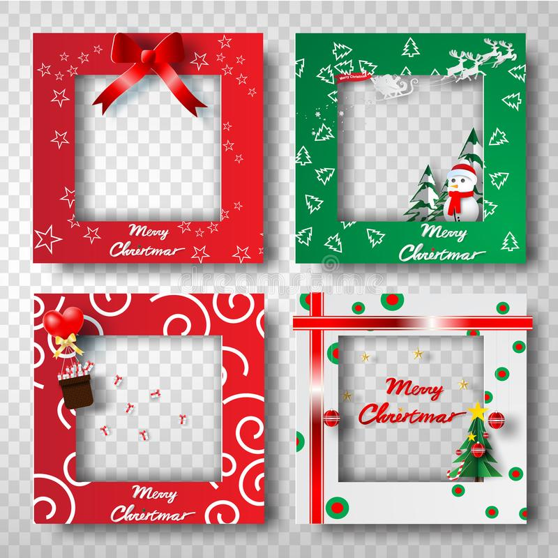 Arte e mestiere di carta dell'insieme di progettazione della foto della struttura del confine di Natale, t royalty illustrazione gratis