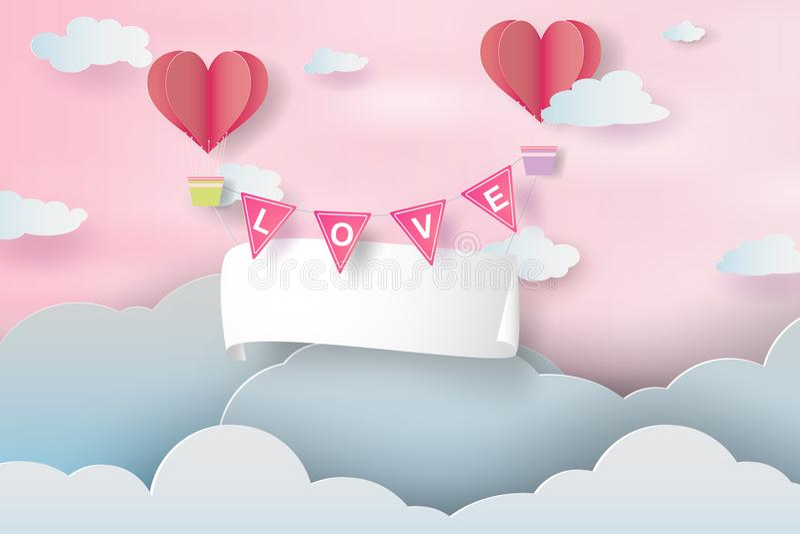 Arte e ofício de papel de Valentine Day feliz, ar de papel b do quadro indicador ilustração royalty free