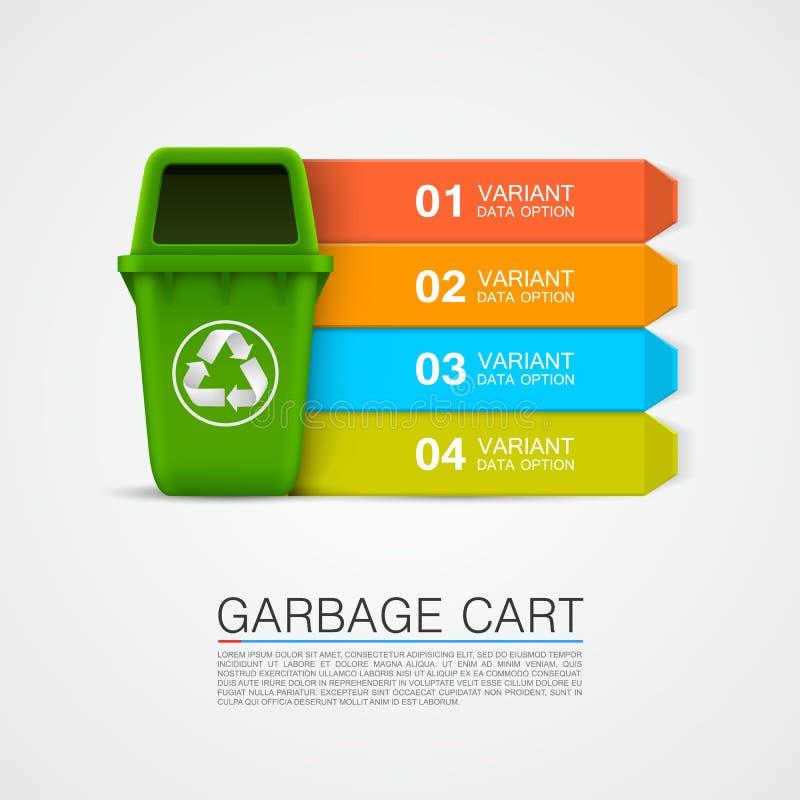 Arte ecológica do lixo da informação gráfica ilustração stock