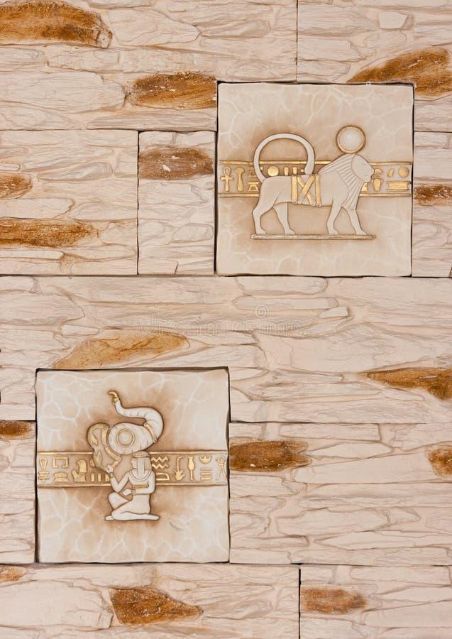 Arte egípcia do sandstone foto de stock
