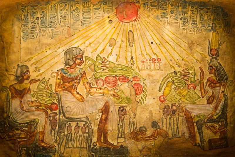 Arte egiziana della famiglia immagine stock