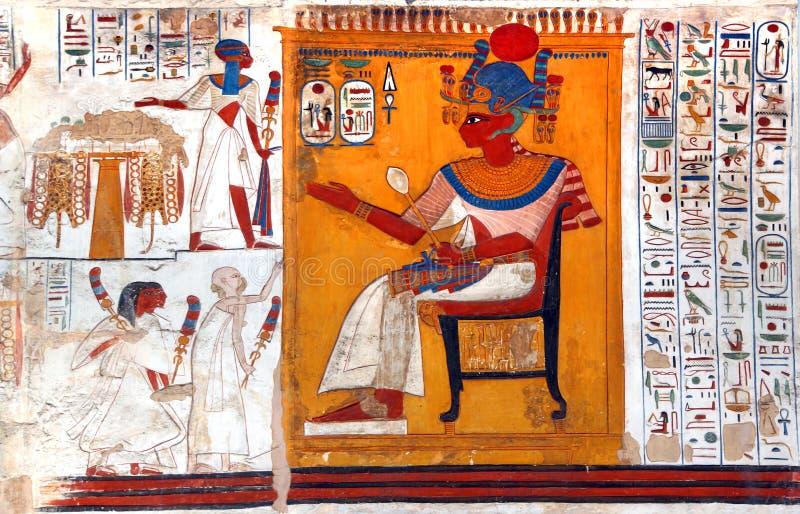 Arte egiziana della parete fotografia stock libera da diritti