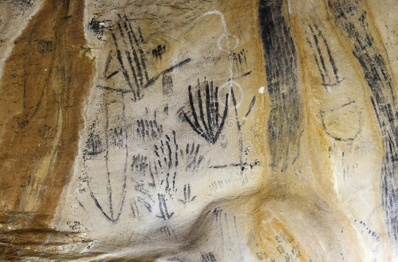 Arte em escalas Austrália do Flinders da caverna de Yourambulla ilustração stock