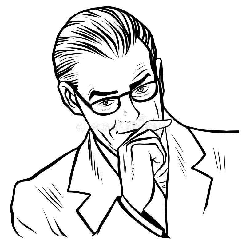 Arte em linha do homem de negócios do homem ilustração stock