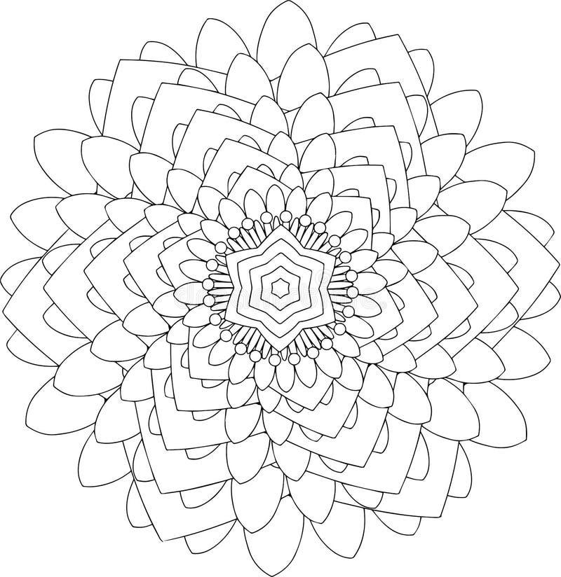 Arte em linha preto e branco Ornamento redondo geométrico imagem de stock royalty free