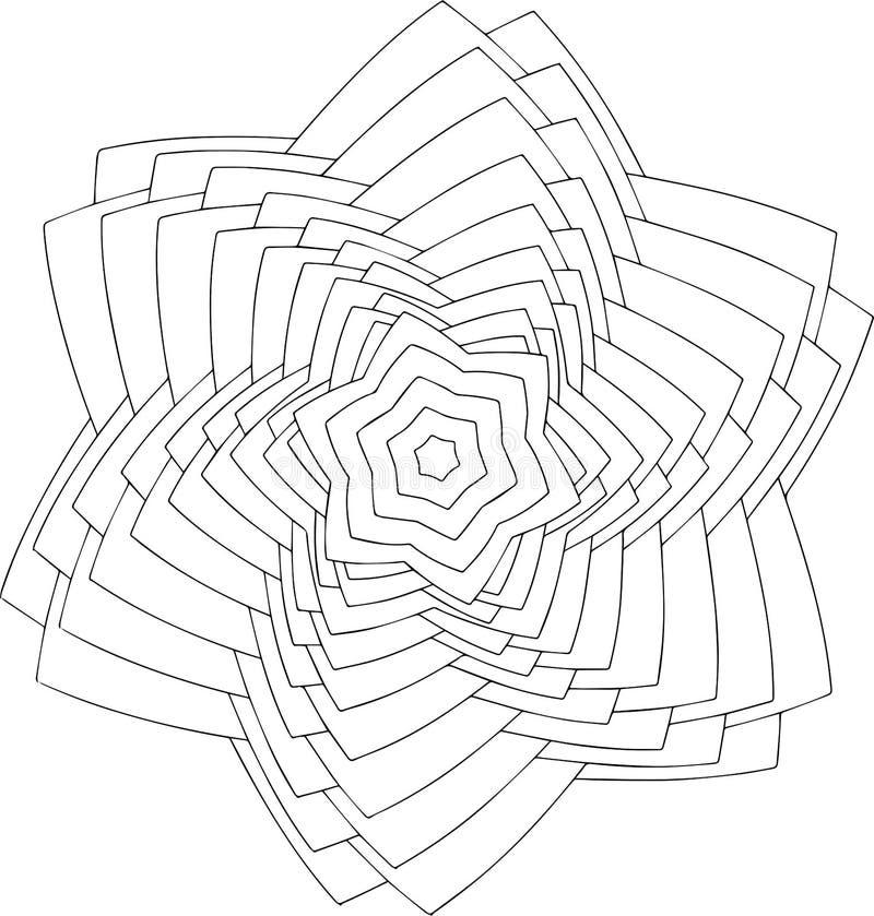 Arte em linha preto e branco Ornamento redondo geométrico fotos de stock