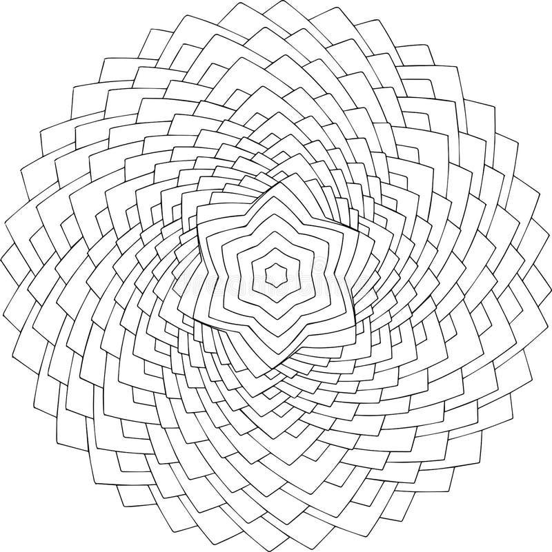Arte em linha preto e branco Ornamento redondo geométrico foto de stock