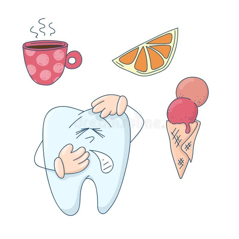 Arte en el tema de la odontolog?a de ni?os Diente lindo de la historieta sensible a caliente, a frío y a dulce ilustración del vector
