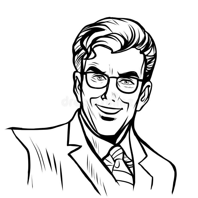 Arte en línea del hombre de negocios del hombre stock de ilustración
