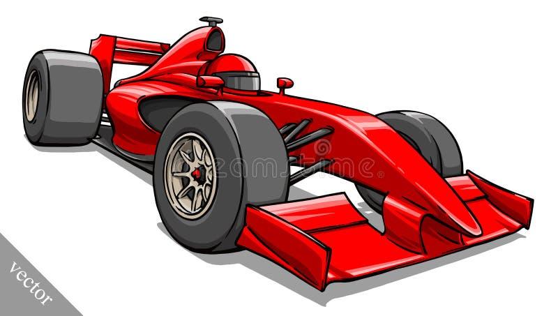 Arte engraçada da ilustração do vetor do carro de corridas da fórmula dos desenhos animados da criança imagens de stock