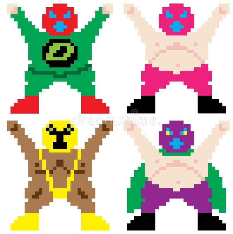 Arte enmascarado del pixel del luchador libre illustration