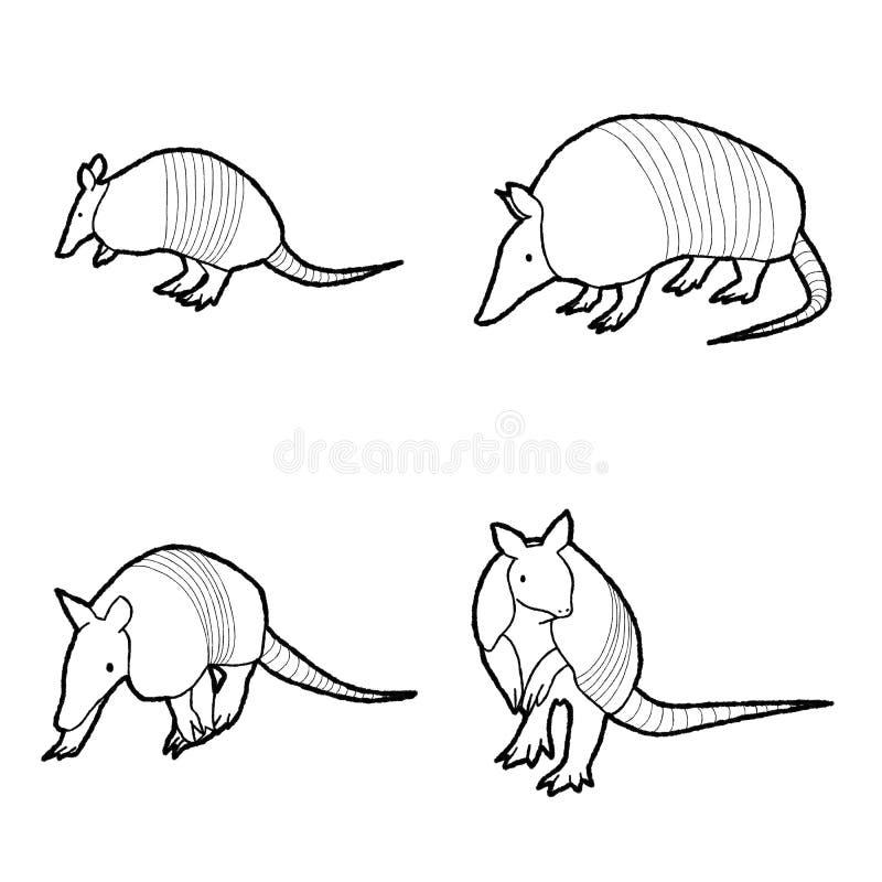 Arte exhausto de la historieta del vector del armadillo de la mano animal del ejemplo foto de archivo