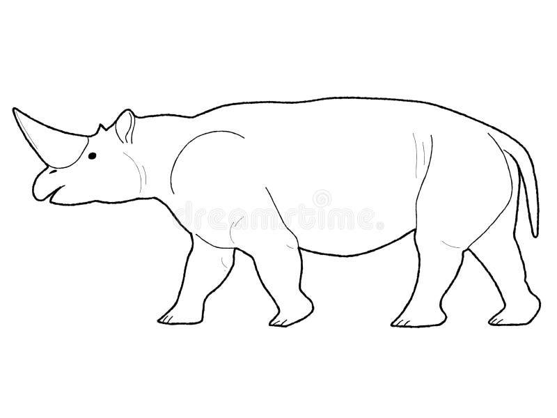 Arte exhausto de la historieta del vector de Arsinoitherium de la mano animal del ejemplo imagen de archivo libre de regalías