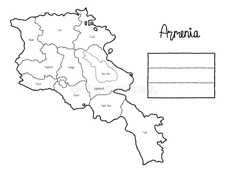 Arte exhausto de la historieta de la mano del ejemplo del vector de la bandera del mapa del país de Armenia libre illustration
