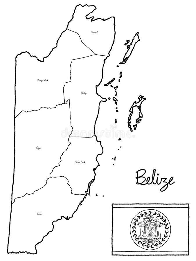 Arte exhausto de la historieta de la mano del ejemplo del vector de la bandera del mapa del país de Belice imágenes de archivo libres de regalías