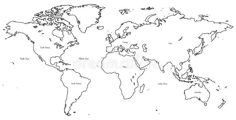 Arte exhausto de la historieta de la mano del ejemplo del vector del mapa del mundo imagen de archivo