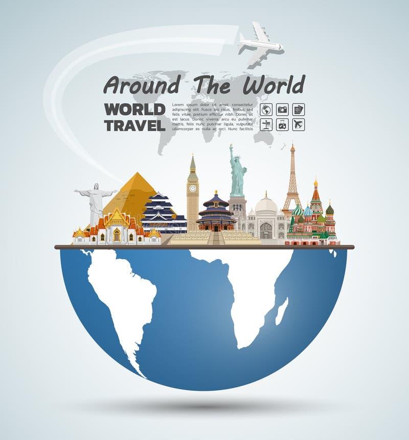 Arte famoso del papel de la señal Viaje y viaje globales Infog stock de ilustración