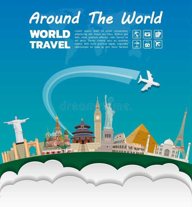 Arte famoso del papel de la señal Viaje y viaje globales Infog libre illustration