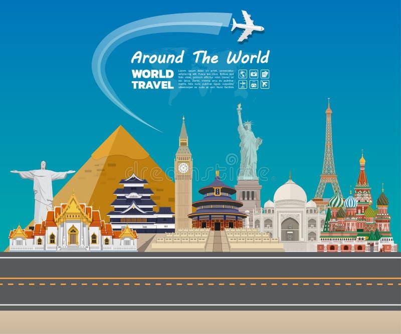 Arte famoso del papel de la señal Viaje y viaje globales Infog ilustración del vector