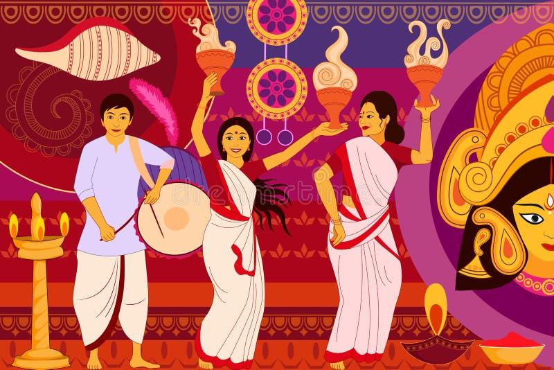 Arte feliz la India del kitsch del fondo del festival de Durga Puja stock de ilustración