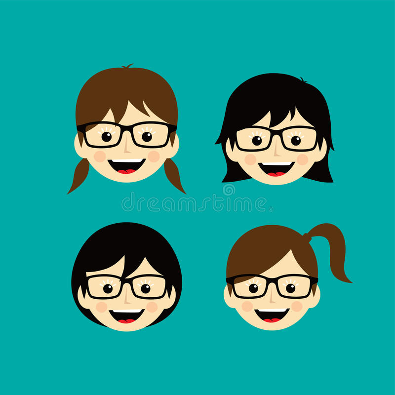 arte femenino de la muchacha de la mujer de la expresión de la cara de la historieta del friki libre illustration