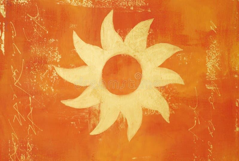 Arte -final com sol dourado ilustração stock