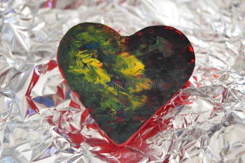 a arte finala abstrata criou a pintura colorida acrílica da arte do coração fotografia de stock