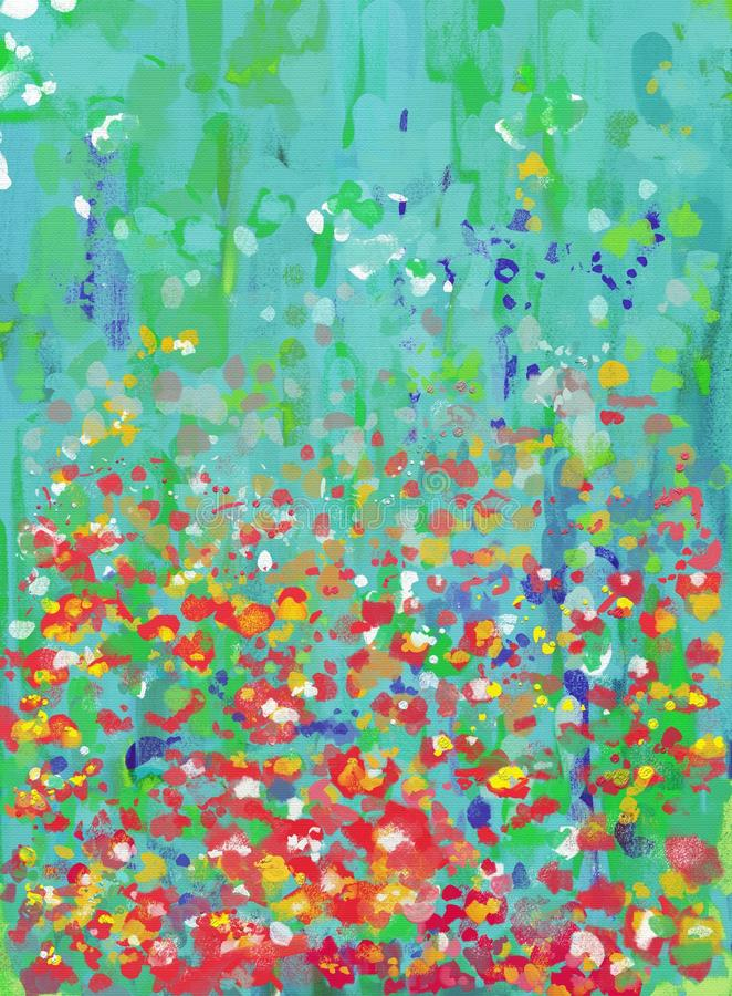 Arte finala abstrata da paisagem do estilo da pintura a óleo na lona ilustração stock