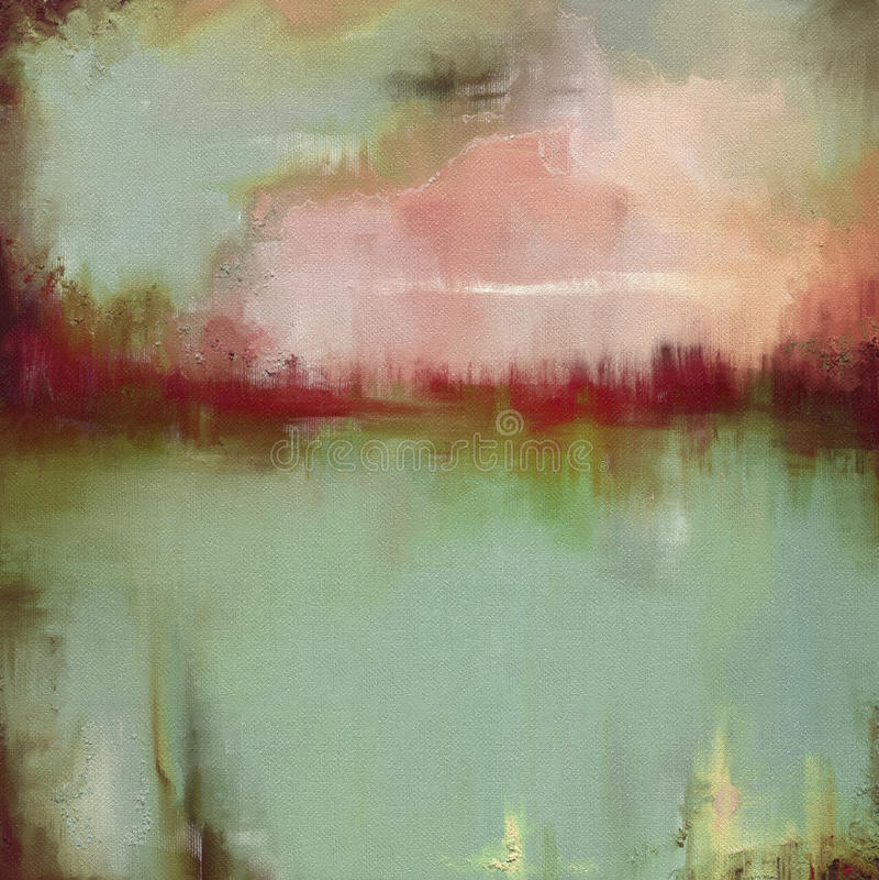Arte finala abstrata da paisagem do estilo da pintura a óleo na lona ilustração do vetor