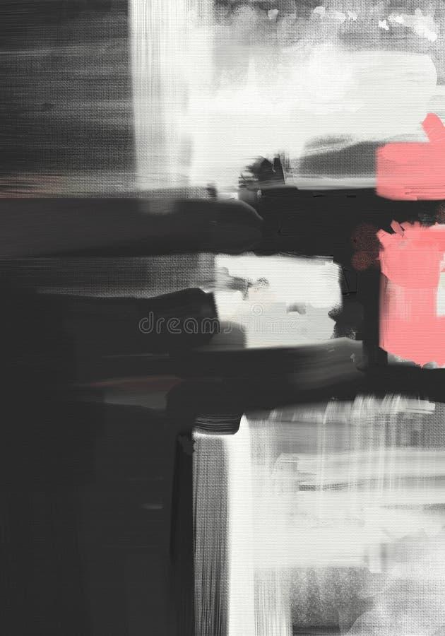 Arte finala abstrata da pintura a óleo do estilo do expressionista na lona ilustração do vetor