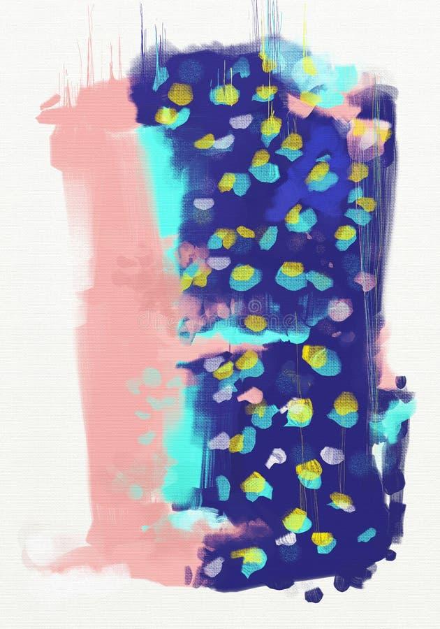 Arte finala abstrata da pintura a óleo do estilo na lona ilustração do vetor