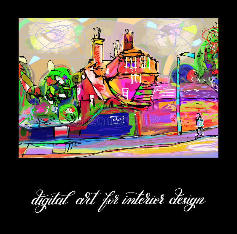 Arte finala abstrata digital contemporânea original da pintura a imprimir ilustração stock