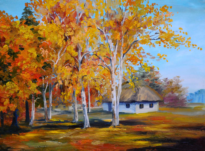 Arte finala abstrata, pintura a óleo - casa da floresta ilustração royalty free
