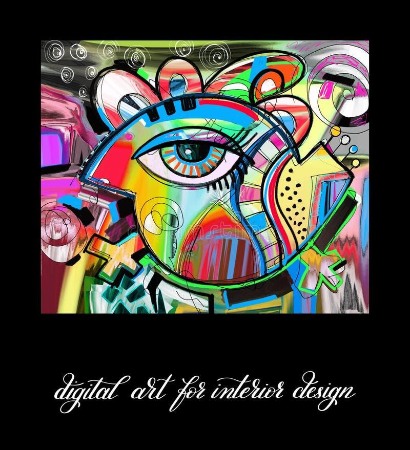 Arte finala digital contemporânea original do pássaro da pintura a imprimível ilustração stock