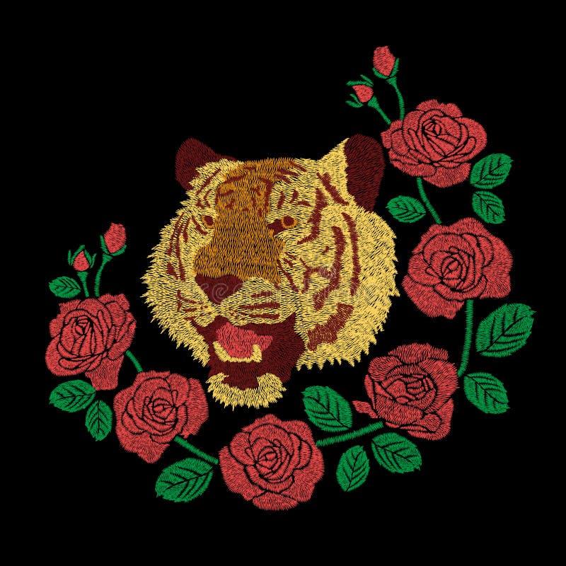 a arte finala do bordado da cabeça do tigre e da flor das rosas vermelhas projeta ilustração royalty free