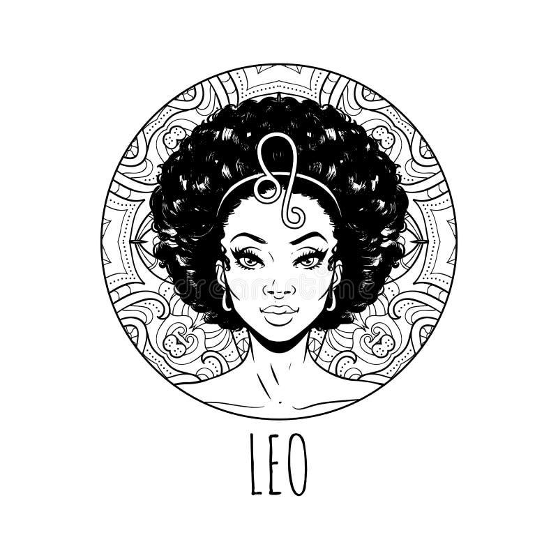 Arte finala do sinal do zodíaco do Leão, página adulta do livro para colorir, menina bonita do símbolo do horóscopo, ilustração d ilustração do vetor