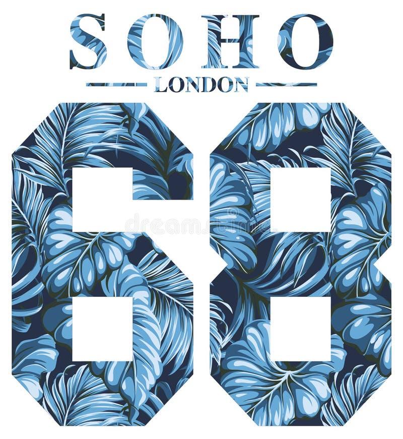 Arte finala do vintage de Soho Londres para a cópia da camisa de t ilustração stock