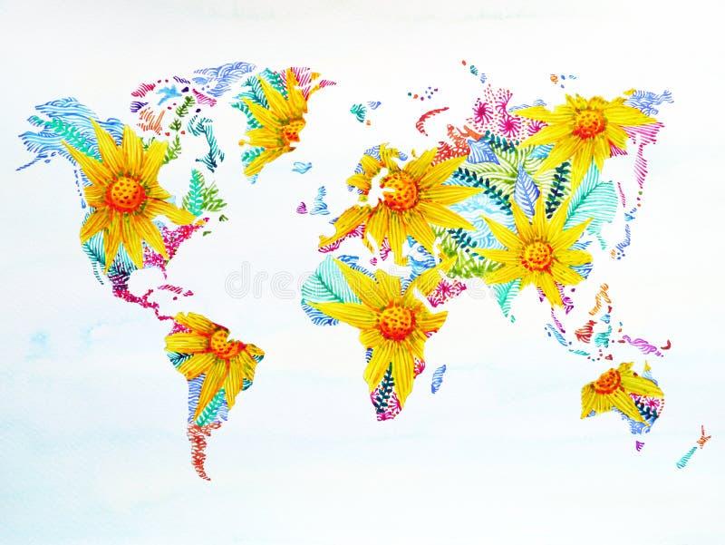 Arte finala floral tirada mão da flor da pintura da aquarela do mapa do mundo ilustração do vetor