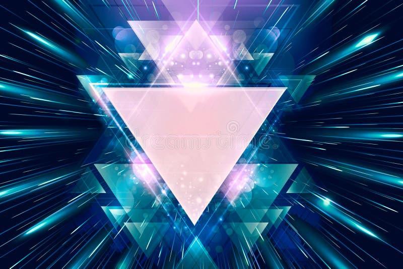 Arte finala lisa colorida dos triângulos do sumário artístico no feixes coloridos do fundo claro ilustração stock