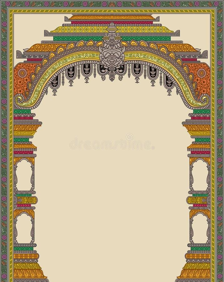 Arte finala manual Digital do vintage da ilustração e da planta da flor de Mughal da cópia de matéria têxtil aumentada ilustração do vetor