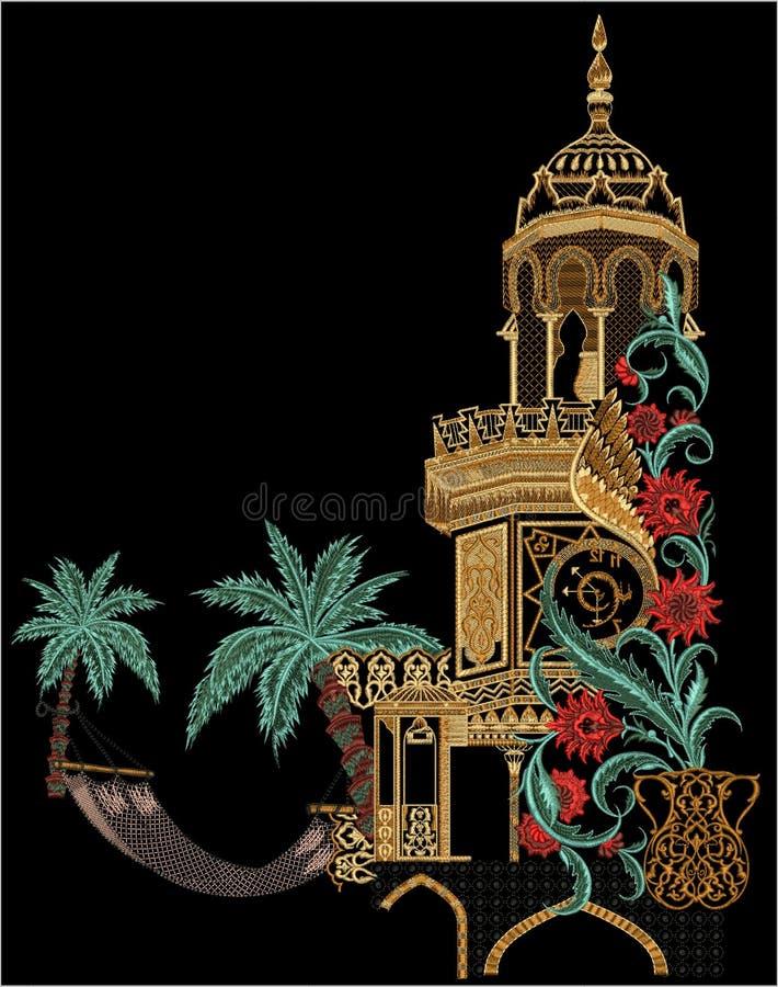 Arte finala manual Digital do vintage da ilustração e da planta da flor de Mughal da cópia de matéria têxtil aumentada ilustração stock