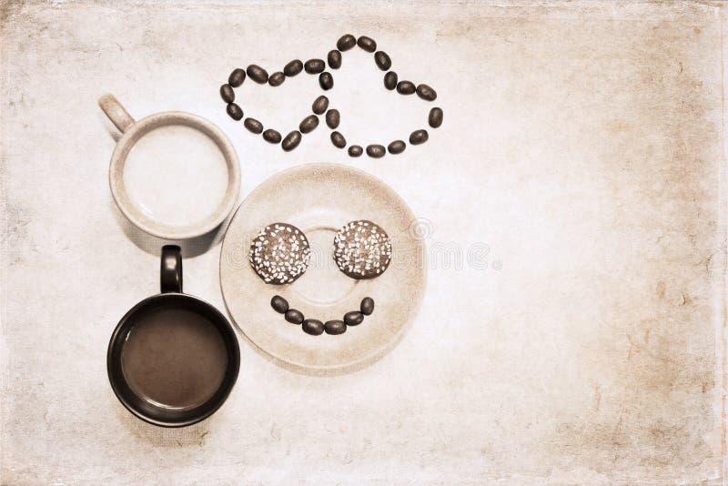 Arte finala no estilo do grunge, café da manhã imagens de stock royalty free