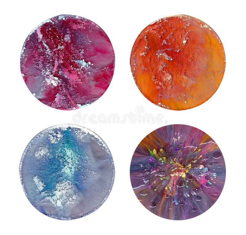 Arte flúido en una placa de Petri La pintura colorida del acrílico, de la tinta, del aceite y del mármol de la acuarela salpica imagen de archivo