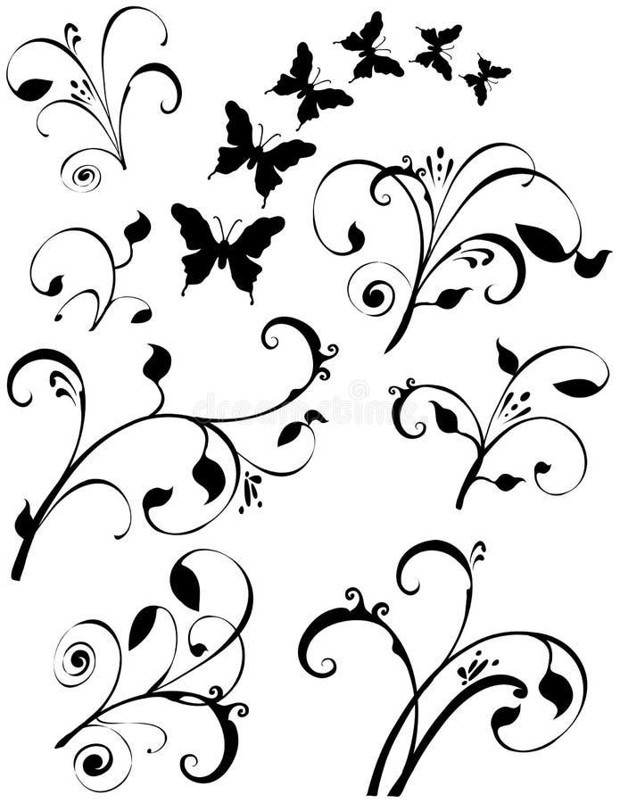 Arte floral da folha das borboletas ilustração stock