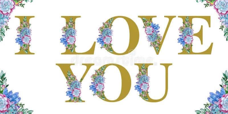 Arte floral de la palabra de la acuarela TE AMO stock de ilustración