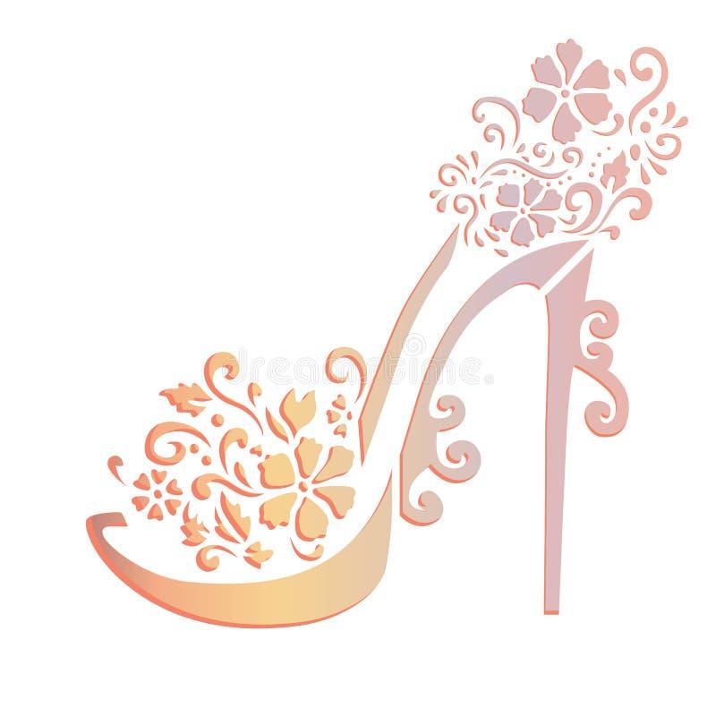 Arte floral do estêncil das sapatas ilustração royalty free