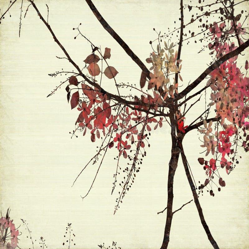 Arte floral em fundo de papel com nervuras ilustração royalty free