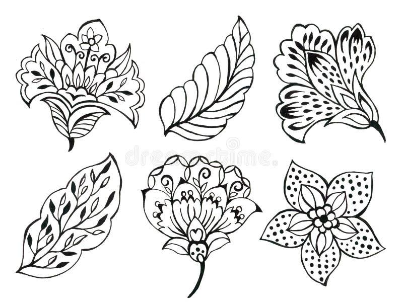 Arte floreal Ilustração do contorno preto e branco batik sarong paisley asian sobre fundo branco desenhado ilustração stock