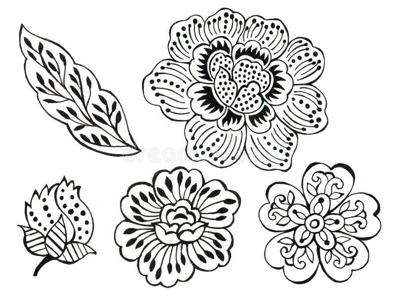 Arte floreal Ilustração do contorno preto e branco batik sarong paisley asian sobre fundo branco desenhado ilustração do vetor